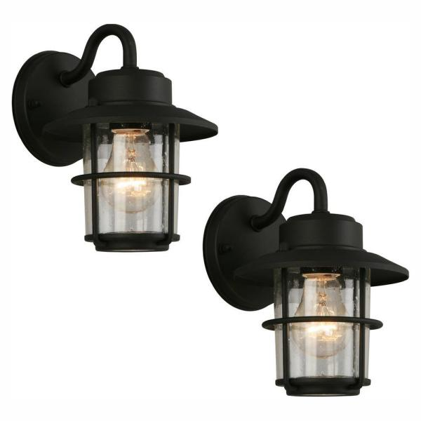 Hampton Bay 1 Light Black Outdoor Wall Lantern Sconce 2 Pack Jbo1691a 4 The Home Depot