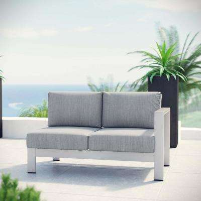 Shore Aluminum Right Arm Outdoor Sectional Chair Loveseat in Silver with Gray Cushions