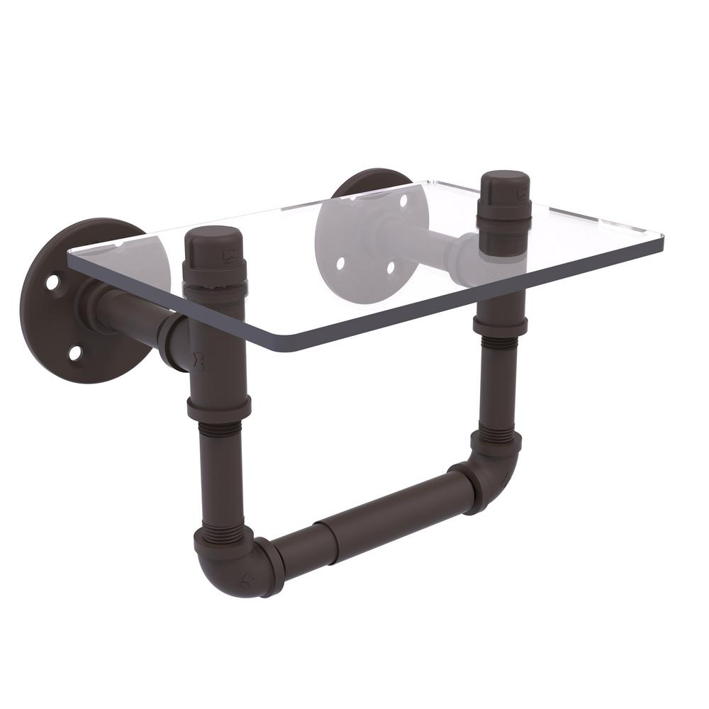 Pipeline Collection Wall-Mount Toilet Tissue Holder with Glass Shelf in Oil