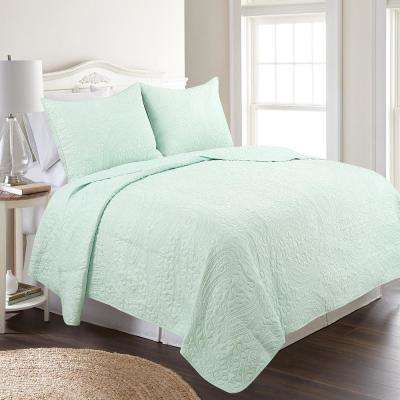 Conner Paisley Soothing Sea Twin Quilt Set