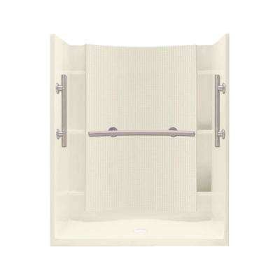 Accord 36 in. x 48 in. x 75.75 in. Shower Kit in Biscuit with Grab Bars