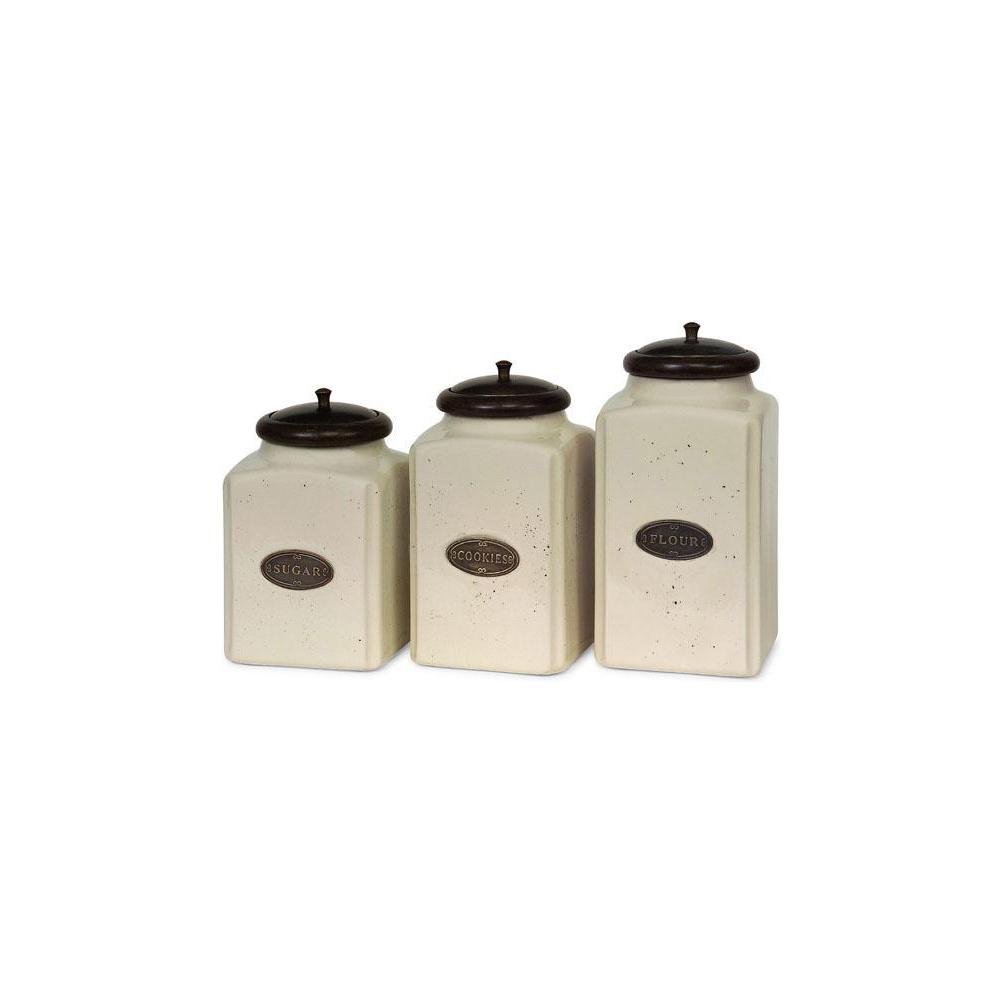 Imax Ivory Ceramic Canisters Set Of 3 5358 3 The Home