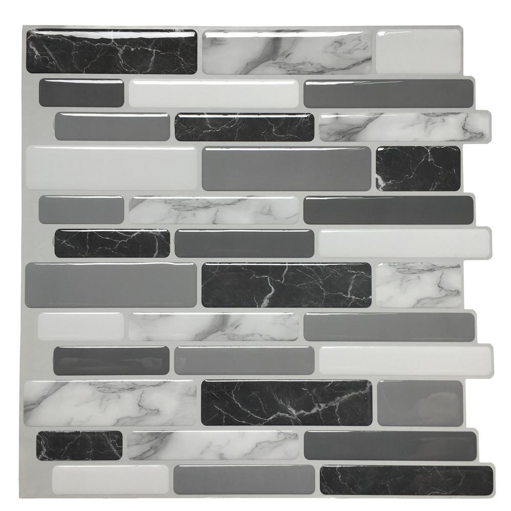 Art3d 12 in. x 12 in. Grey Vinyl Peel and Stick Wall Tile Backsplash for Kitchen (10-Pack)