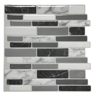 Art3d 12 In X 12 In Grey Vinyl Peel And Stick Wall Tile