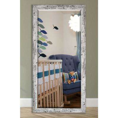 65.5 in. x 32 in. Weathered White Farmhouse Beveled Mirror