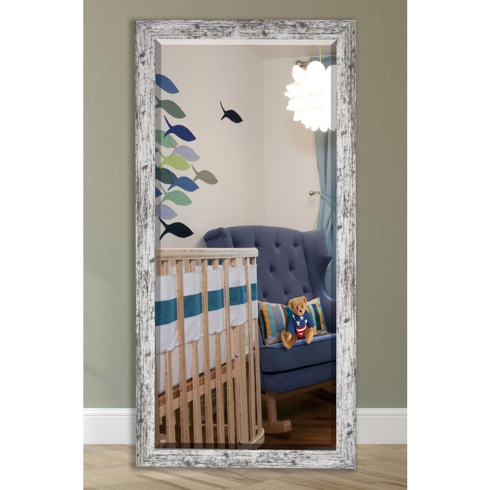 32 in. W x 66 in. H Framed Straight Beveled Edge Bathroom Vanity Mirror in Weather White