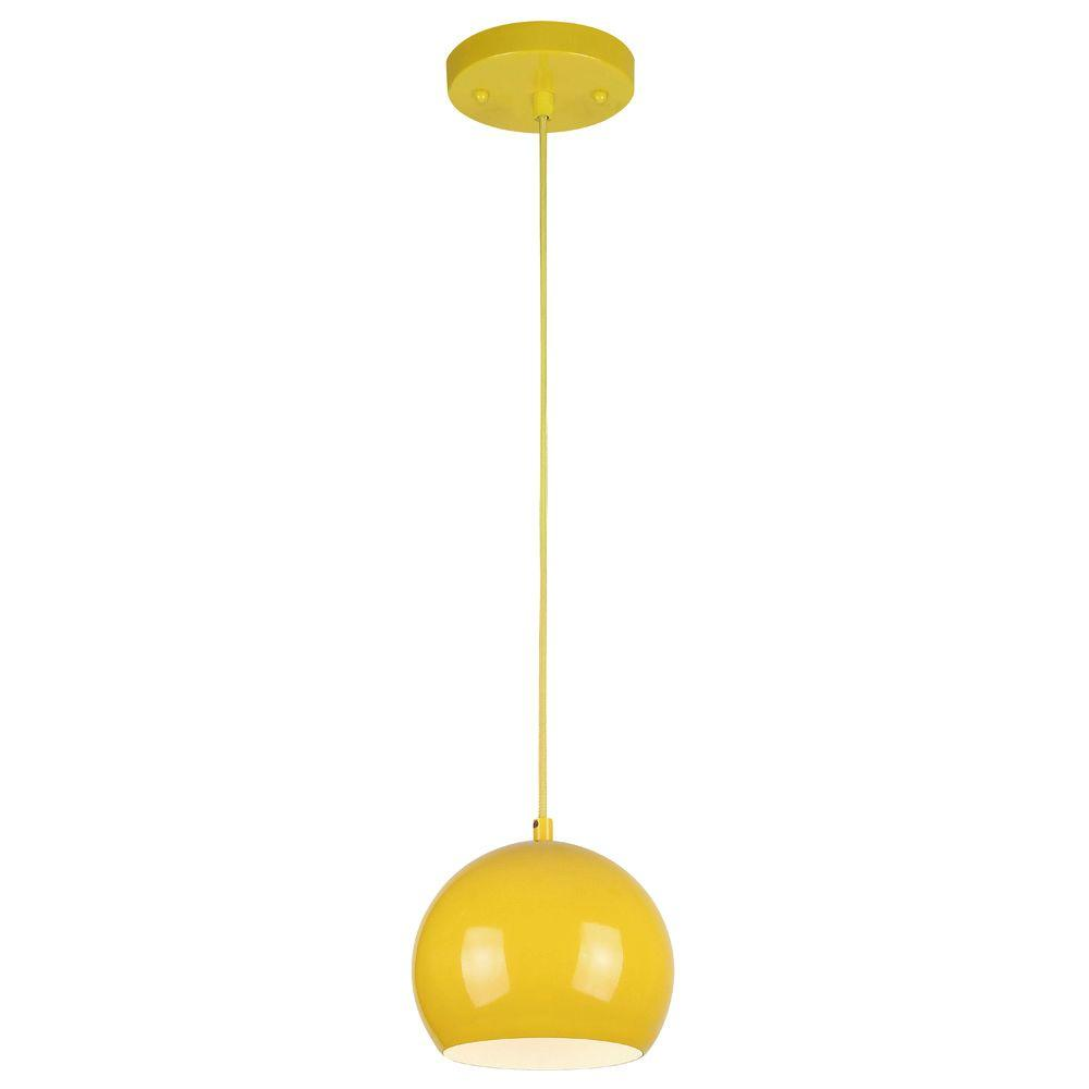 Westinghouse 1-Light Yellow Adjustable Mini Pendant With