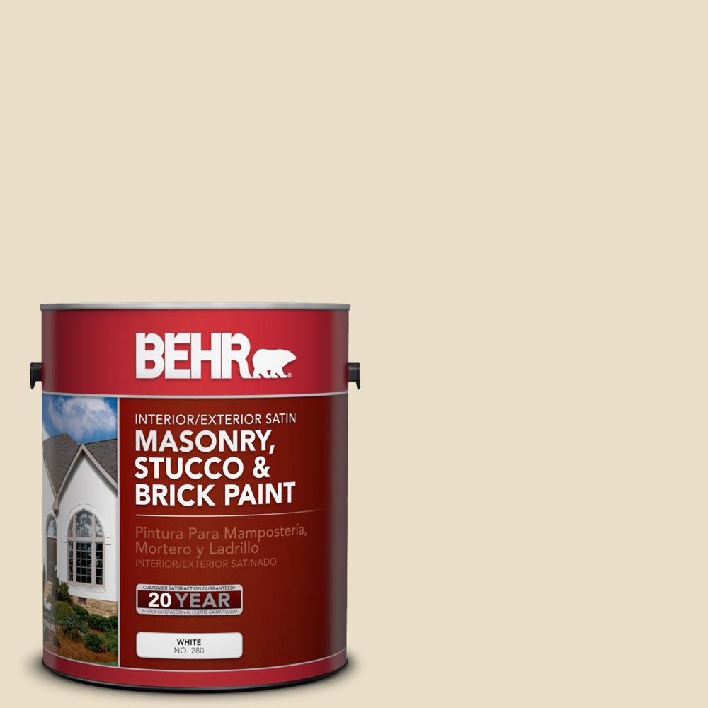 1 gal. #710C-2 Raffia Cream Satin Interior/Exterior Masonry, Stucco and Brick Paint