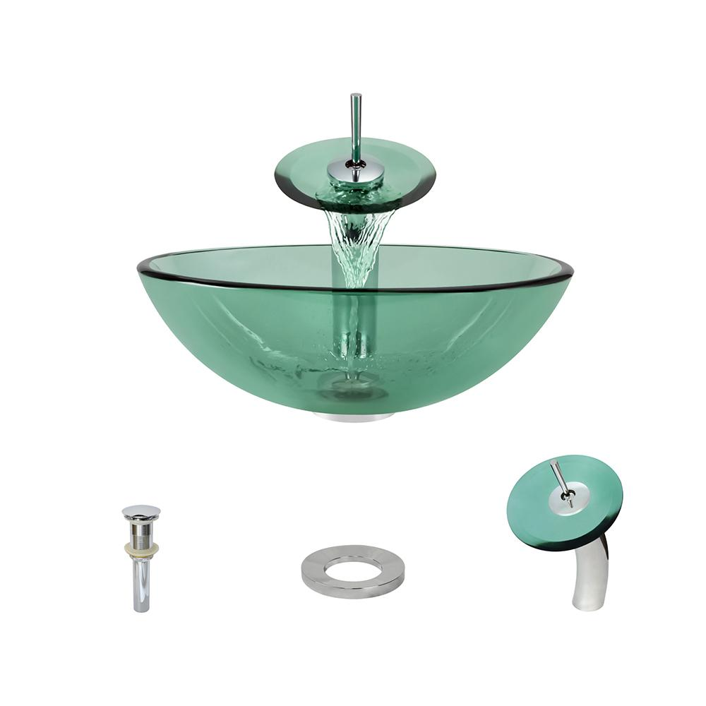 Glass Vessel Sink in Emerald with Waterfall Faucet and Pop-Up Drain