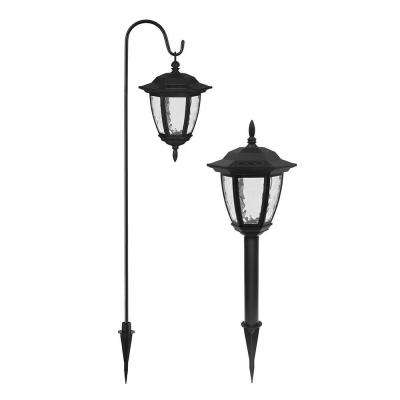 Solar Powered LED Black Dual Use Coach Light Set (2-Pack)