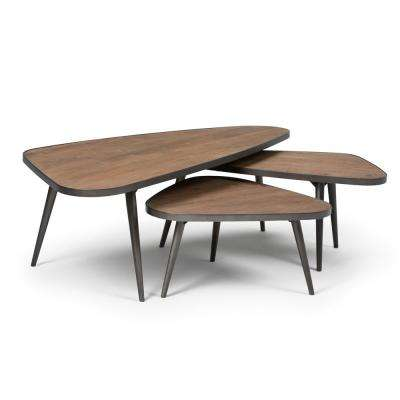 Aubrey Distressed Wood 3-Piece Nesting Coffee Table Set