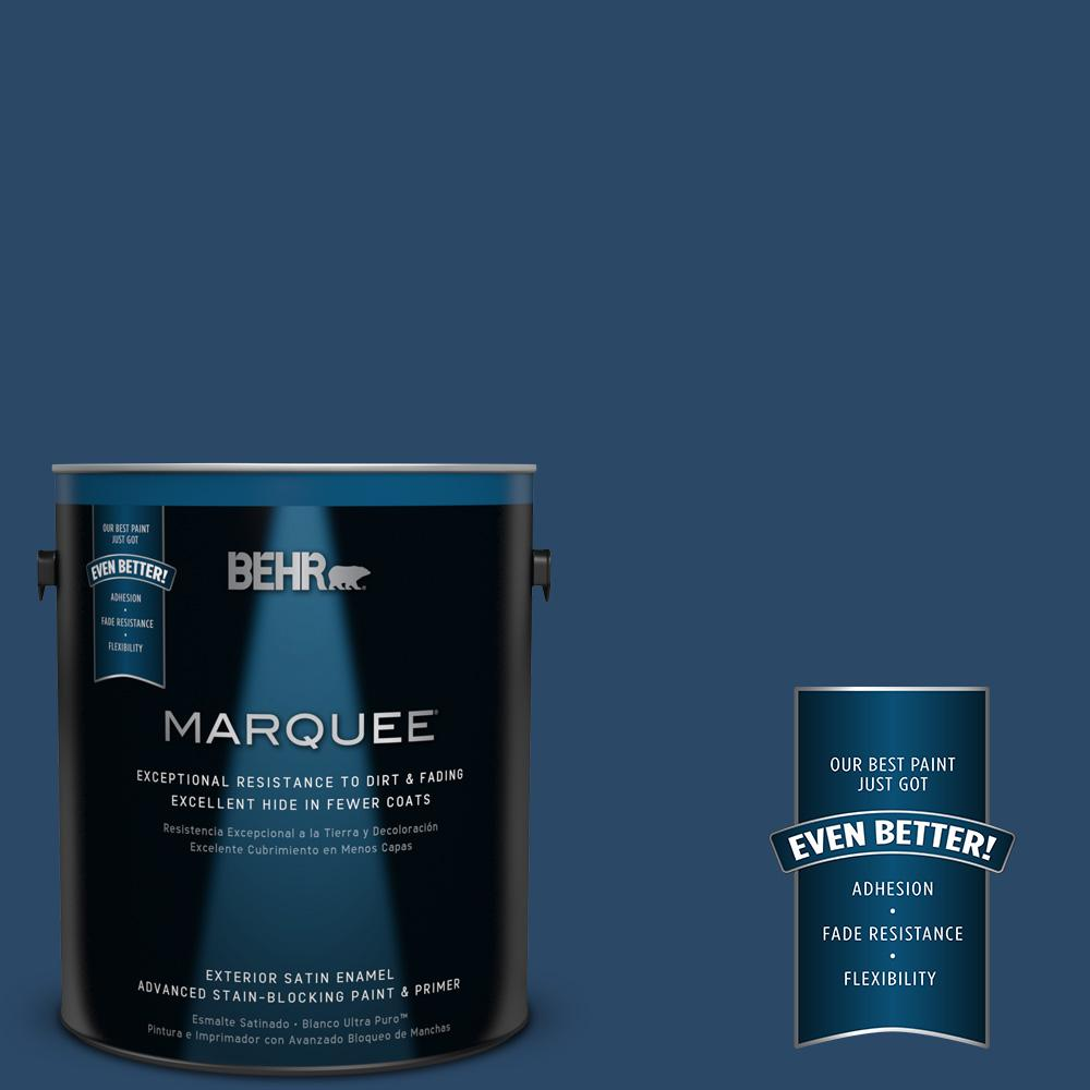 BEHR MARQUEE 1-gal. #580D-7 Deep Royal Satin Enamel Exterior Paint