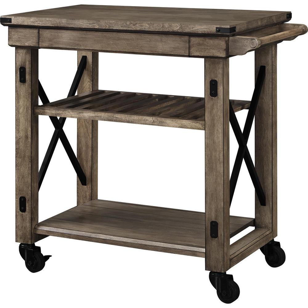 Industrial Kitchen Cart Bar Cart Serving Cart: Ameriwood Forest Grove Rustic Gray Serving Cart With