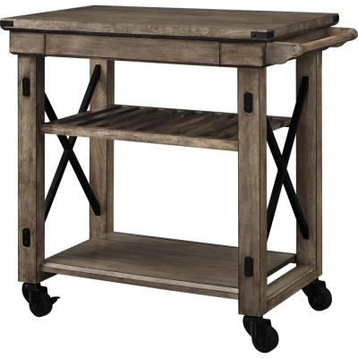 Forest Grove Rustic Gray Serving Cart with Slatted Shelf