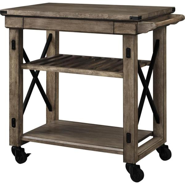 Ameriwood Forest Grove Rustic Gray Serving Cart with Slatted Shelf