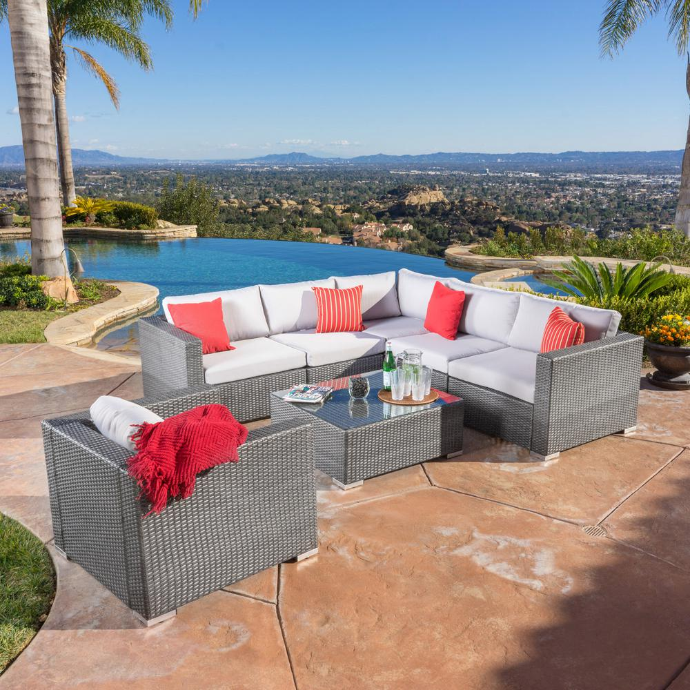 Noble House Santa Rosa Grey 7-Piece Wicker Outdoor Sectional Set with Silver Gray Cushions