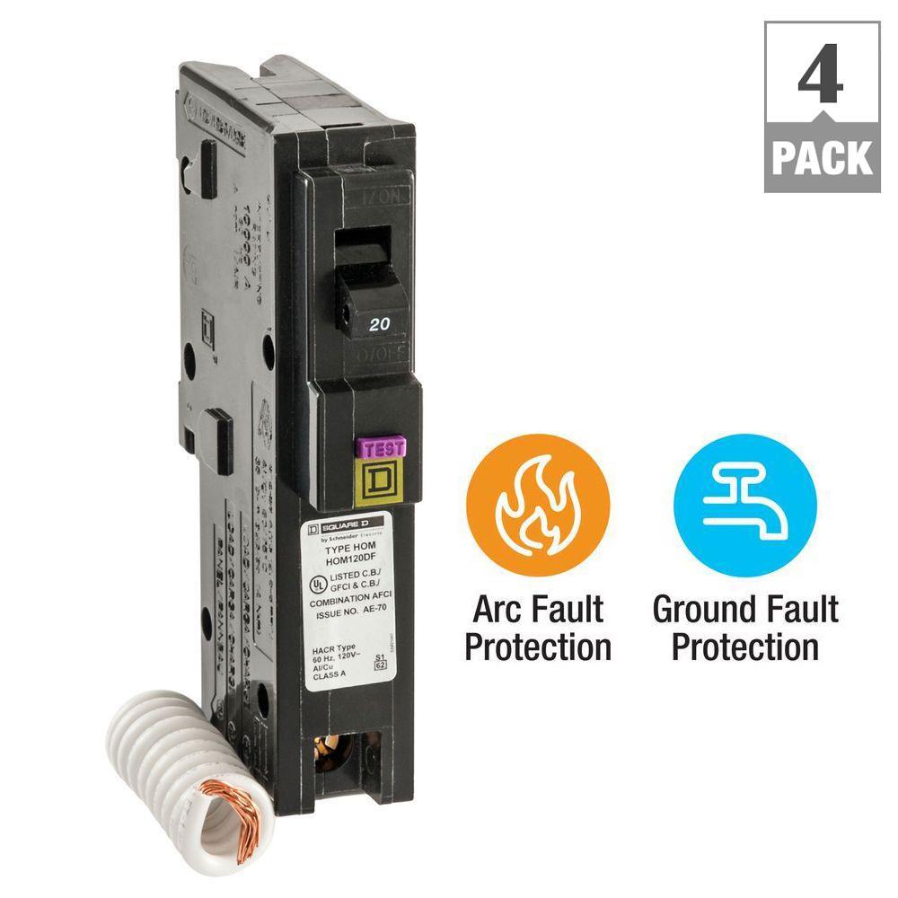 Phenomenal Square D Homeline 20 Amp Single Pole Combination Arc Fault Circuit Wiring Digital Resources Jebrpcompassionincorg