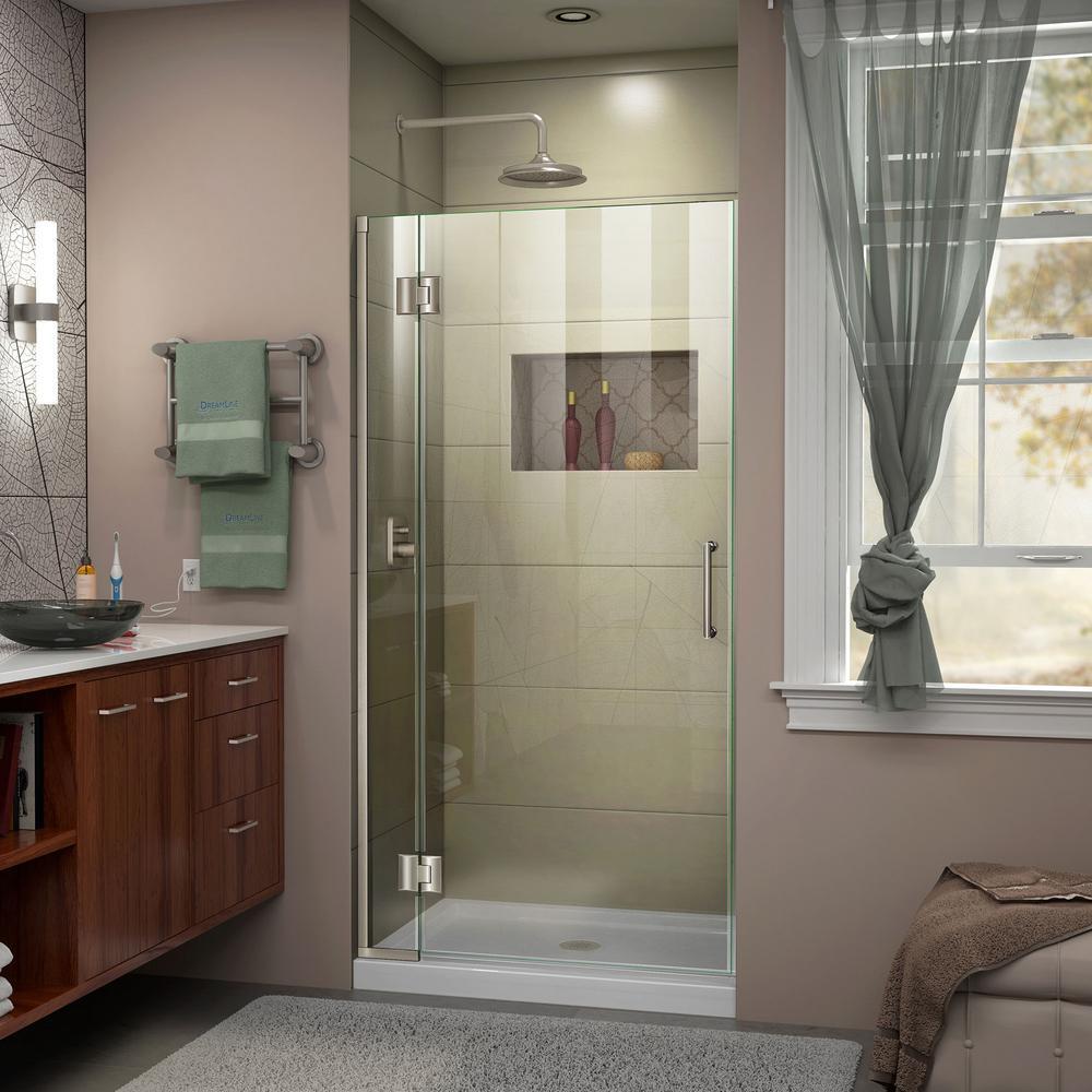 Unidoor-X 34 in. x 72 in. Frameless Hinged Shower Door in Brushed Nickel