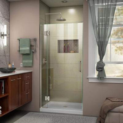 Dreamline Unidoor X 36 In X 72 In Frameless Hinged Shower Door In Brushed Nickel D13072 04 The Home Depot