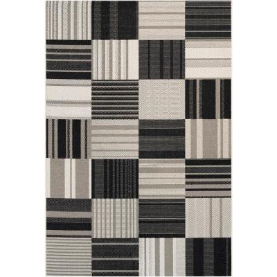 Afuera Patchwork Onyx-Ivory 9 ft. x 12 ft. Indoor/Outdoor Area Rug