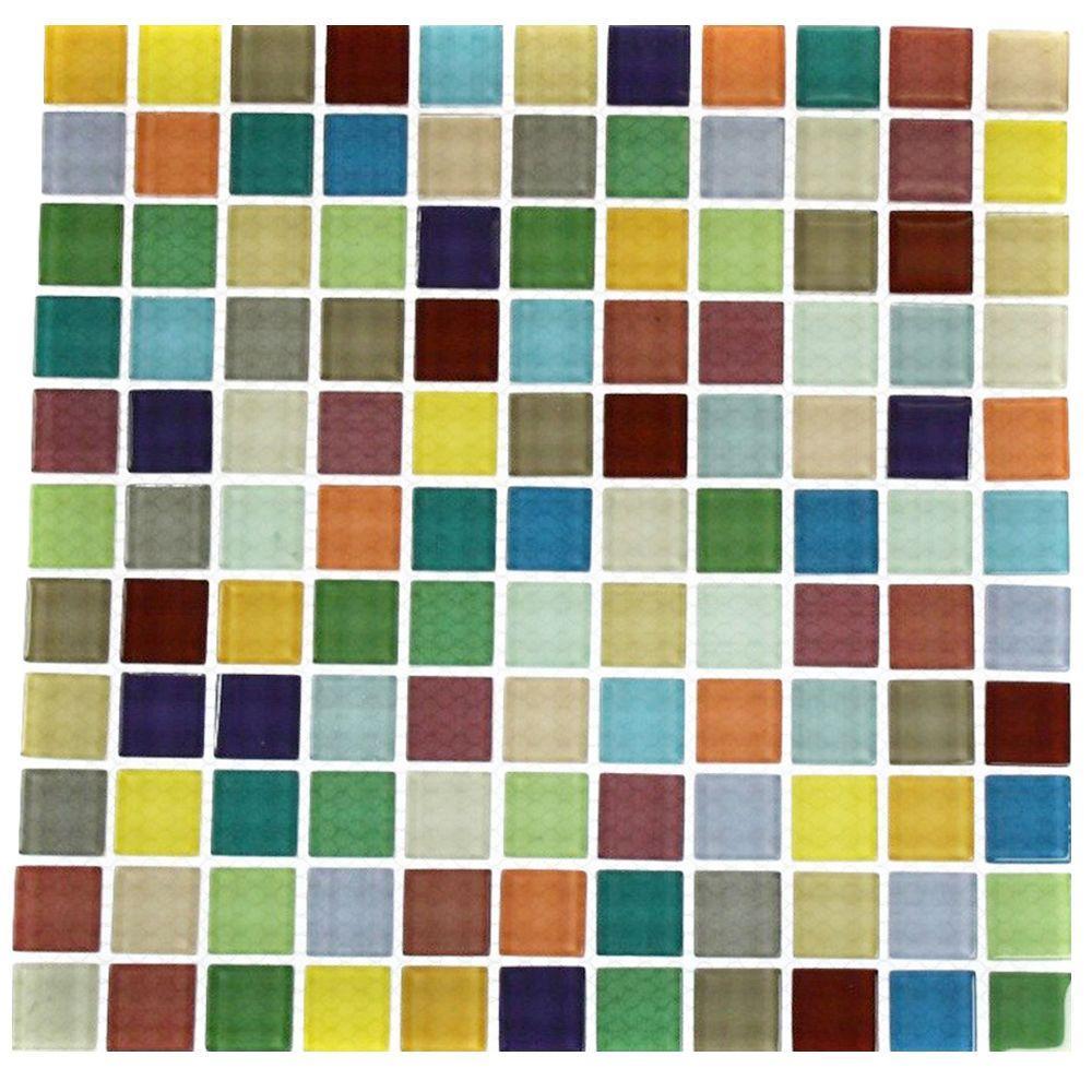 Fruit Splash 12 in. x 12 in. x 8 mm Glass Floor and Wall Tile