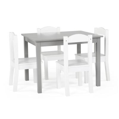 Inspire 5-Piece Grey/White Kids Table and Chair Set