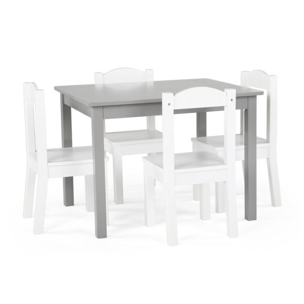 Tot Tutors Inspire 5-Piece Grey/White Kids Table and Chair Set