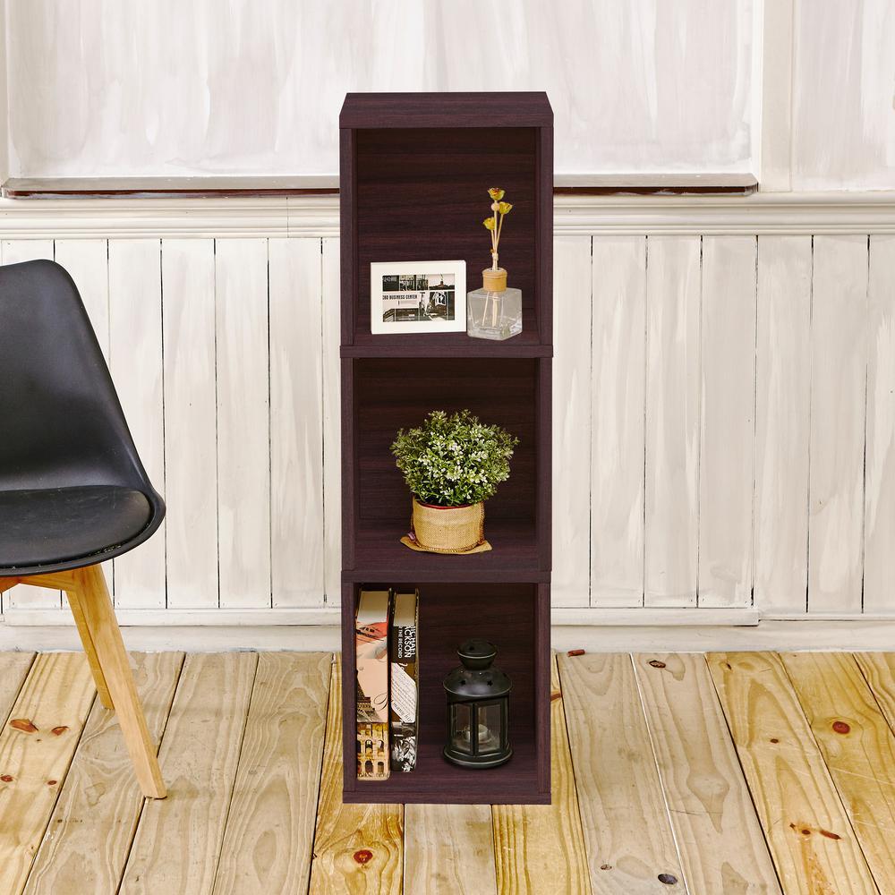 Trois 3-Shelf Narrow zBoard 11.2 x 13.4 x 44.8 Tool-Free Assembly Bookcase Storage Shelf in Espresso Grain