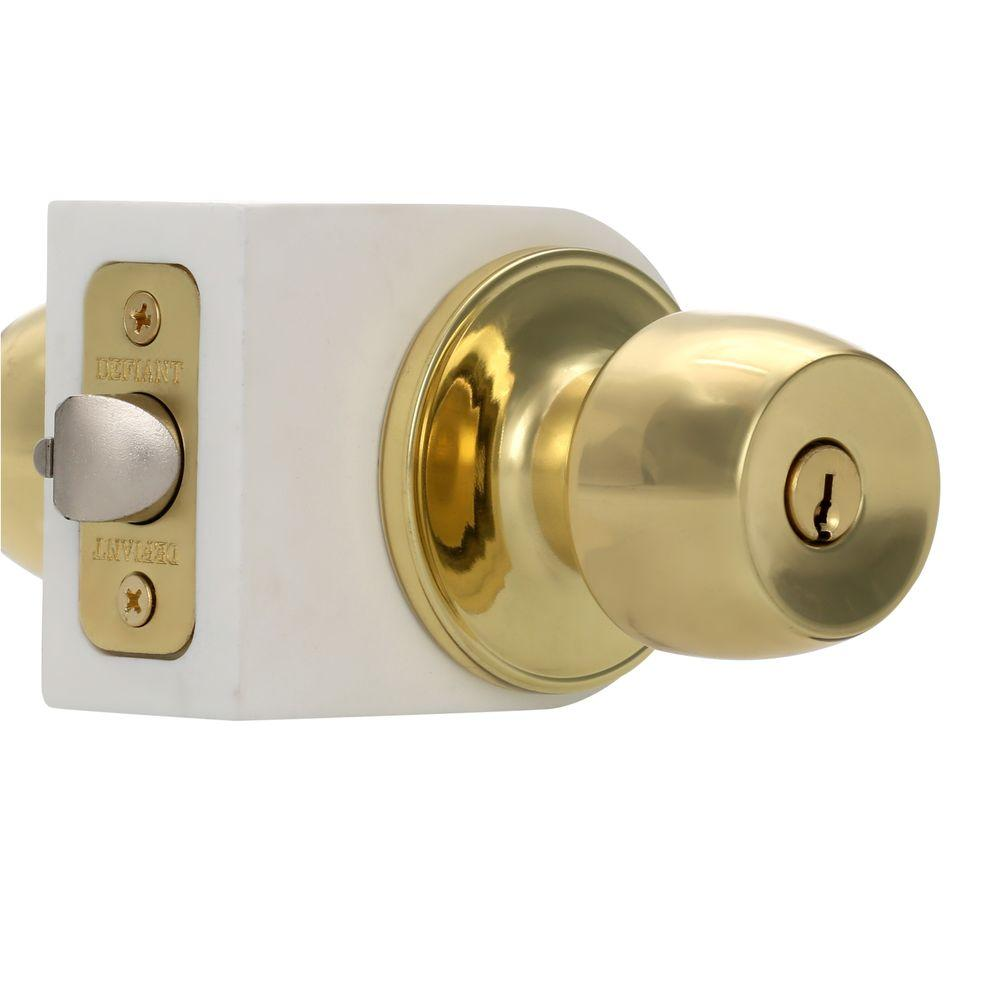 front door handles home depotDefiant Brandywine Polished Brass Entry KnobT8700  The Home Depot