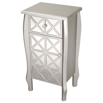 Shelly Assembled 17.3 in. x 17.3 in. x 13 in. Silver Wood Accent Cabinet with Smoked Mirrored Drawer and Door