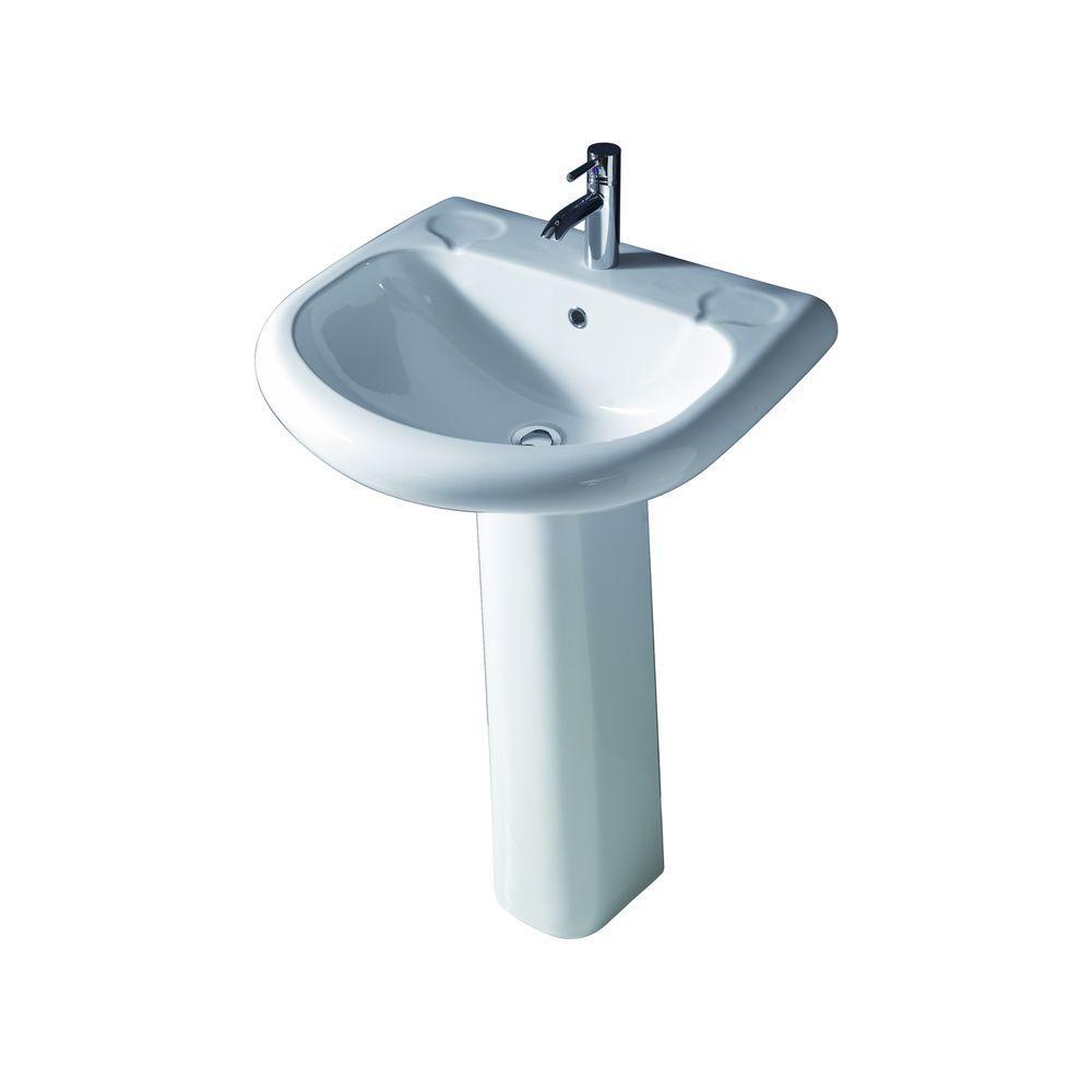 Orient 660 Pedestal Combo Bathroom Sink in White