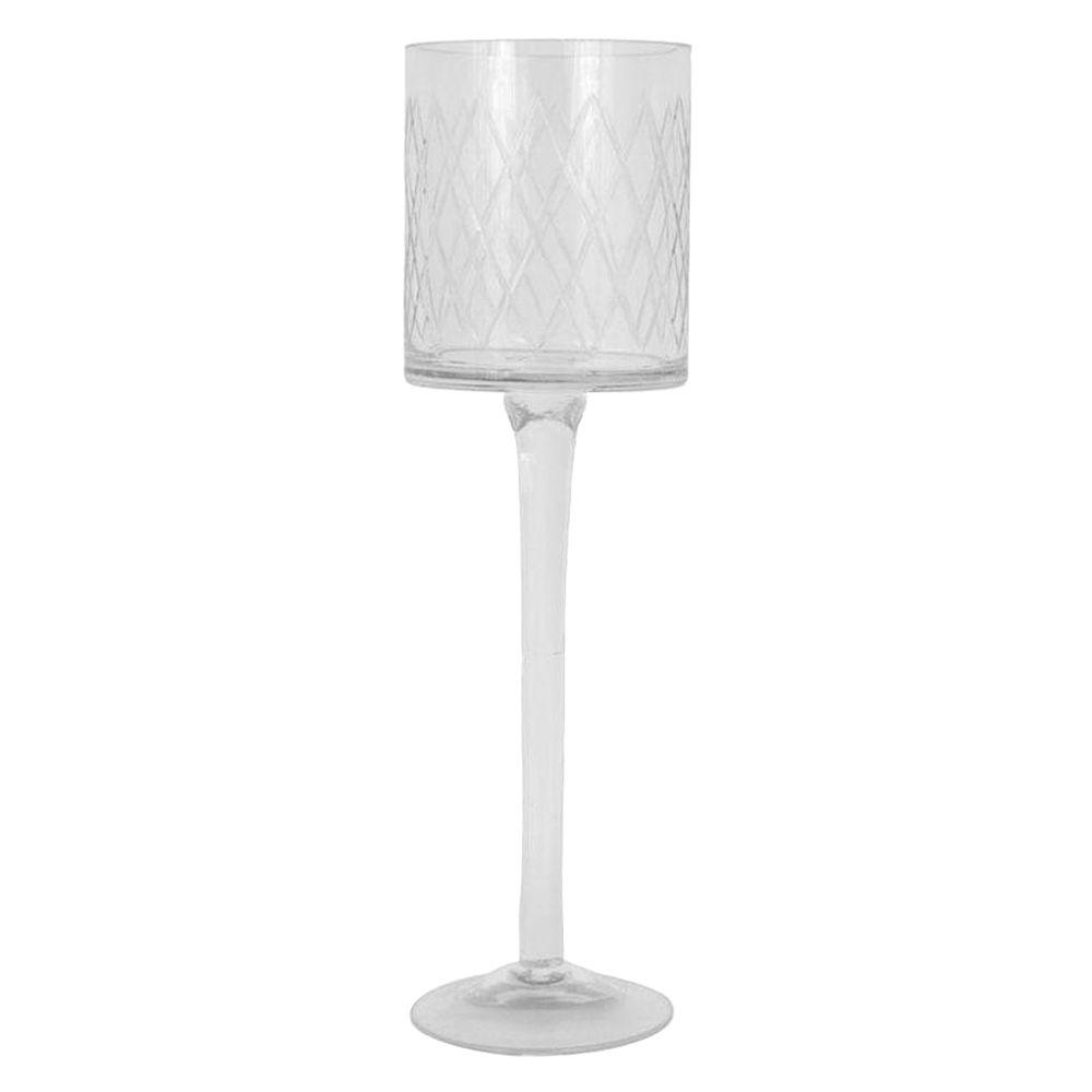 Home Decorators Collection 15.5 in. H Cut Glass Clear Candle Holders