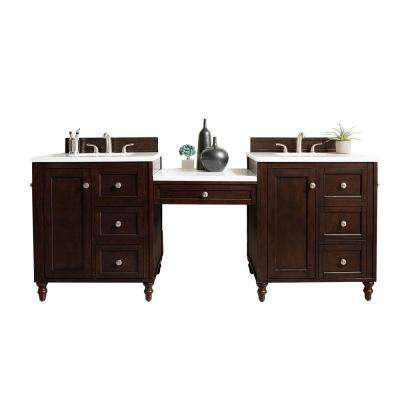 Copper Cove Encore 86 in. W Double Vanity in Burnished Mahogany with Marble Vanity Top in Carrara White with White Basin