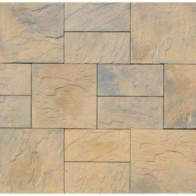 Patio-on-a-Pallet 10 ft. x 10 ft. Concrete Tan Variegated Basketweave Yorkstone Paver