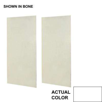 48 in. x 96 in. 2-piece Easy Up Adhesive Shower Wall Panel in White
