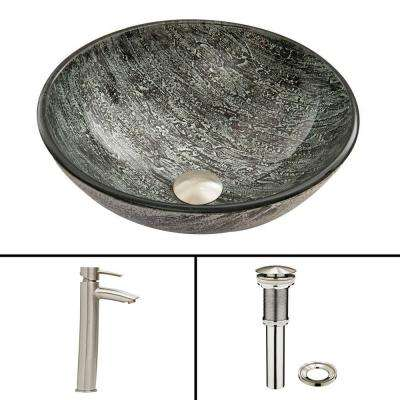Glass Vessel Sink in Titanium and Shadow Faucet Set in Brushed Nickel