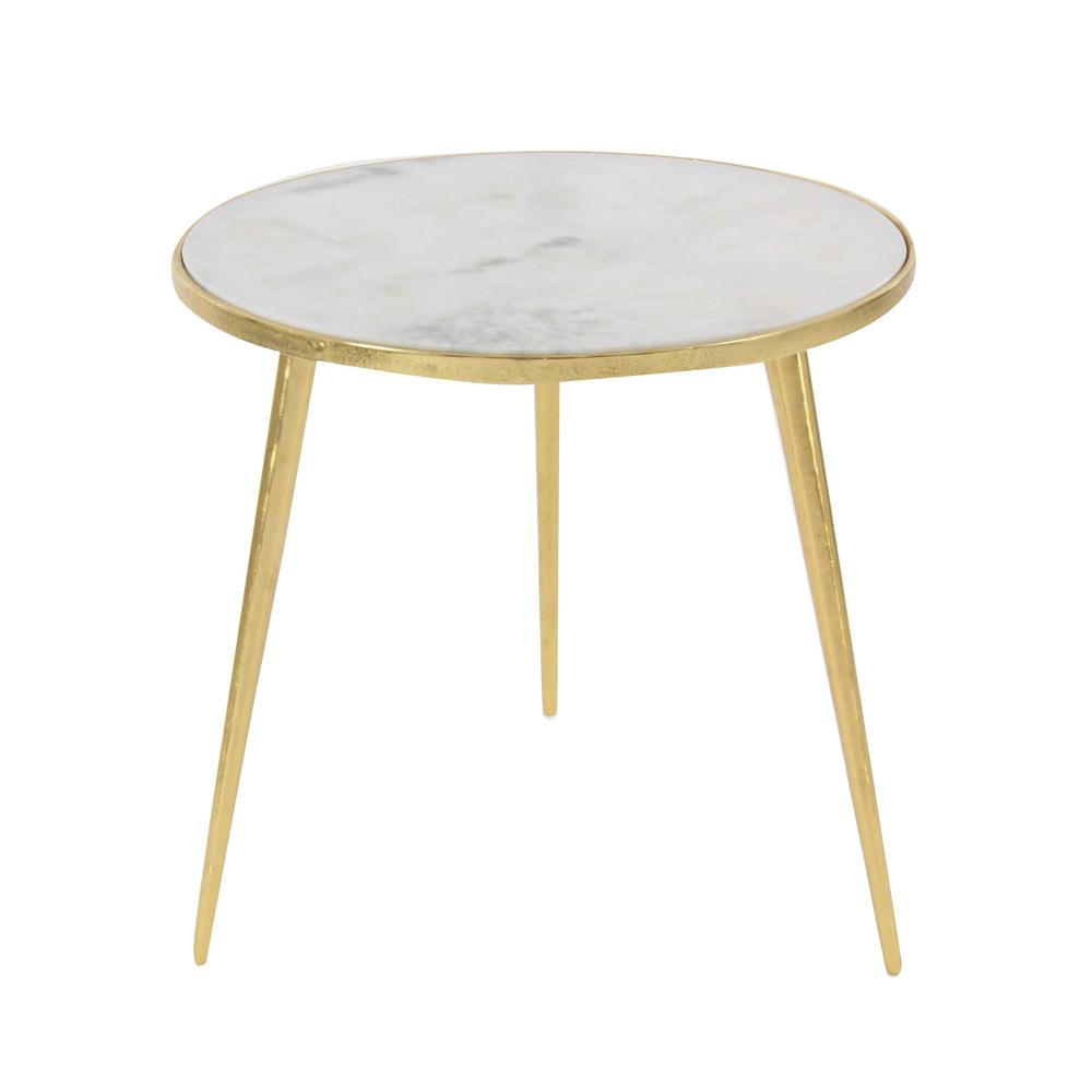 Litton Lane Aluminum Marble Accent Table In Gold 68984 The Home Depot