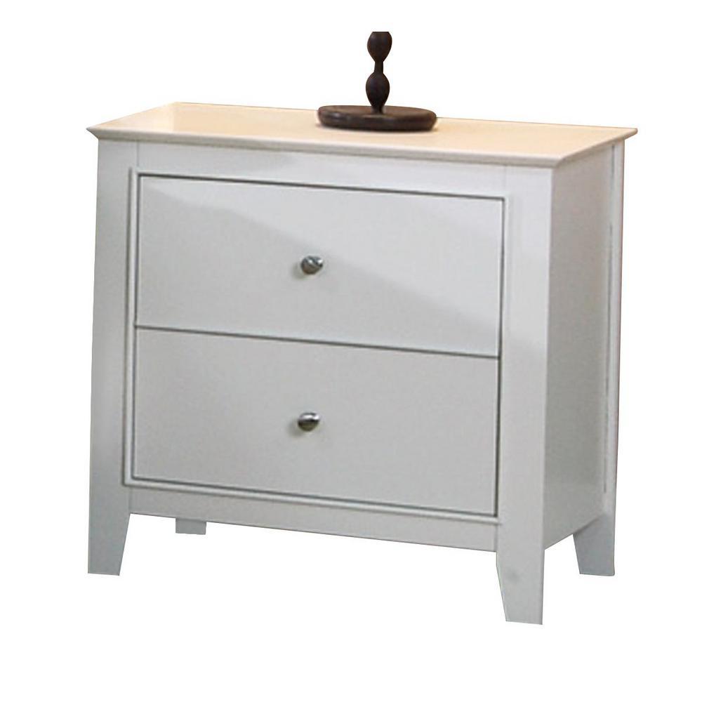 Selena 2-drawer Nightstand White