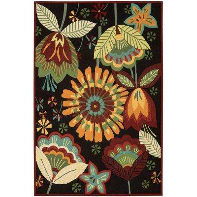 Folk Flowers Black 5 ft. x 8 ft. Area Rug
