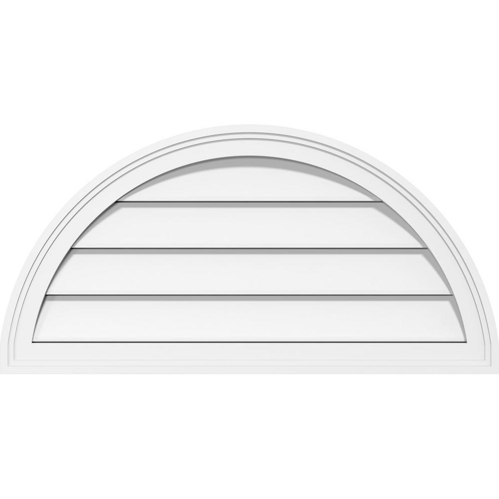 Ekena Millwork 42 in. x 21 in. Half Round Surface Mount PVC Gable Louver Vent: Functional with Brickmould Frame in White