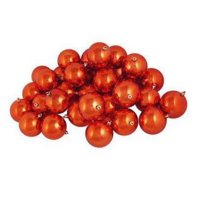 shatterproof shiny burnt orange christmas ball ornaments 32 count