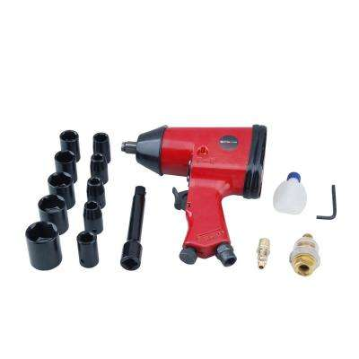 1/2 in. Drive Air Impact Wrench with sockets and case set (17-Piece)