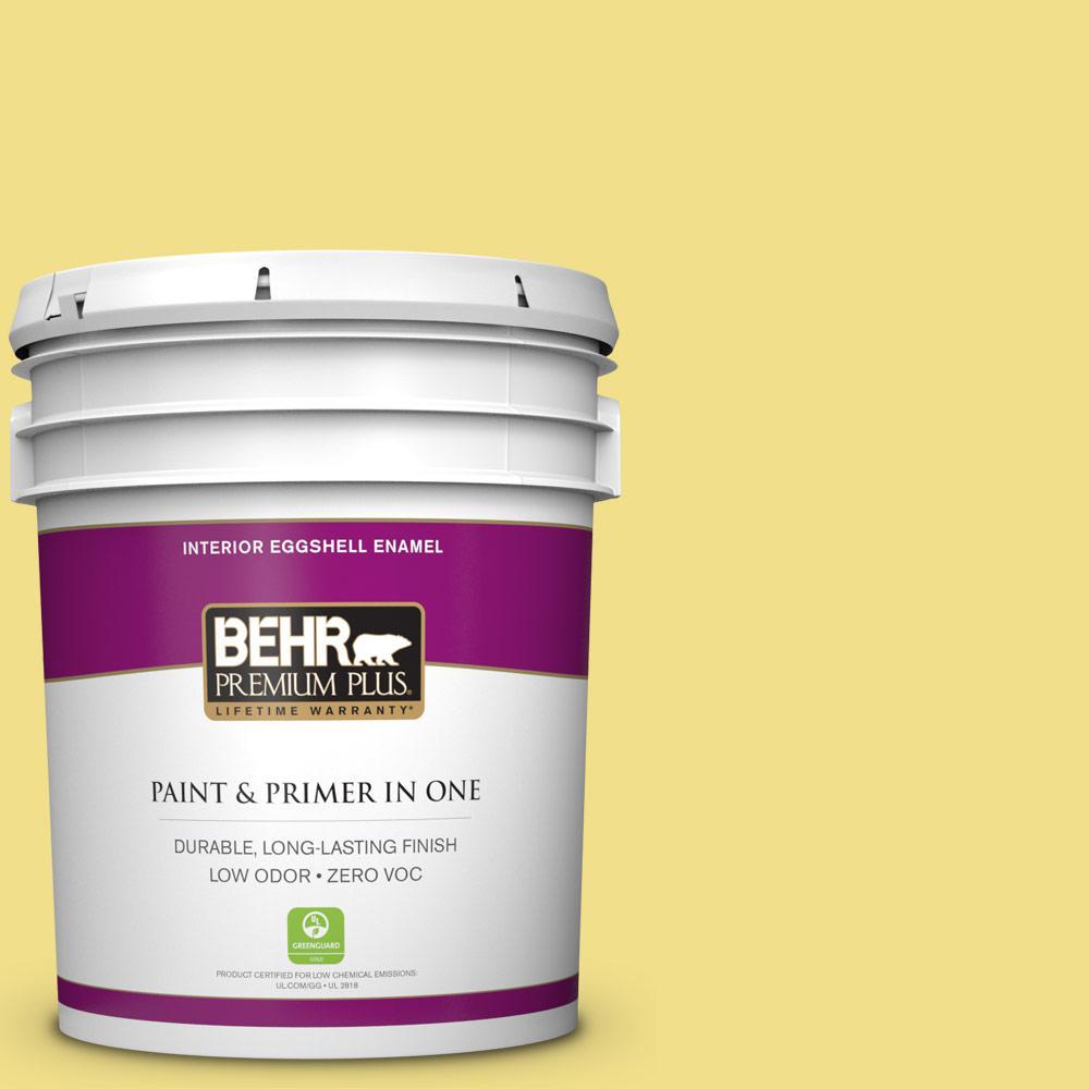 5 gal. #HDC-SP16-03 Lemon Curd Zero VOC Eggshell Enamel Interior Paint