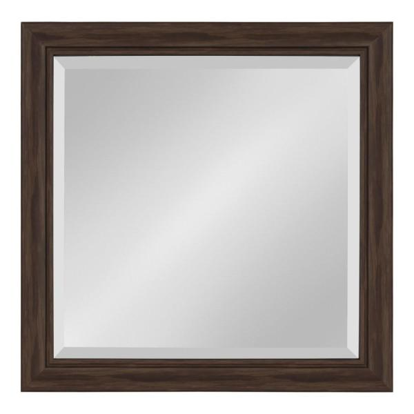 Kate and Laurel Dalat 24 in. x 24 in. Square Walnut Brown Wall Mirror