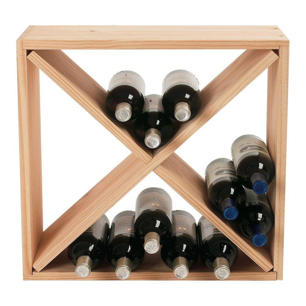 Merveilleux Wine Enthusiast 24 Bottle Compact Cellar Cube Wine Rack In Natural 640 24  03   The Home Depot