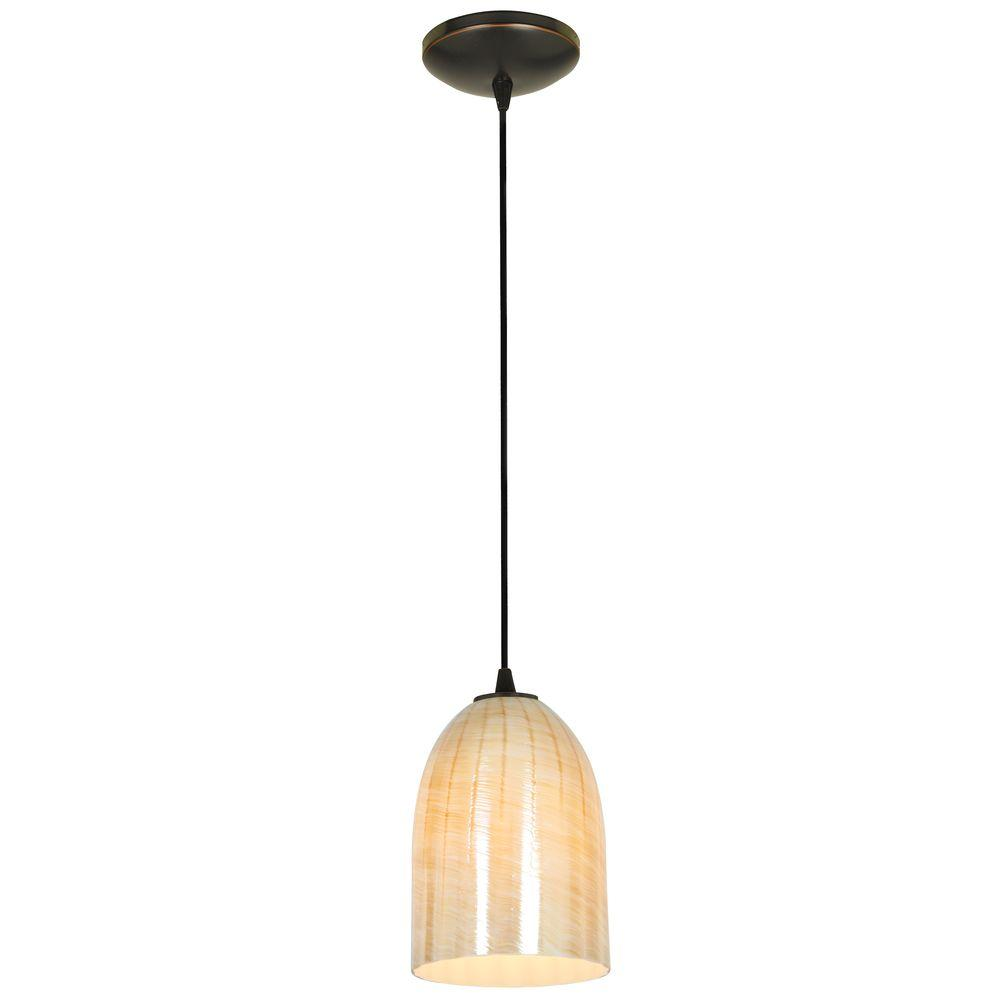 Access Lighting Bordeaux 1 Light Oil Rubbed Bronze Metal Pendant With Wicker Amber Gl
