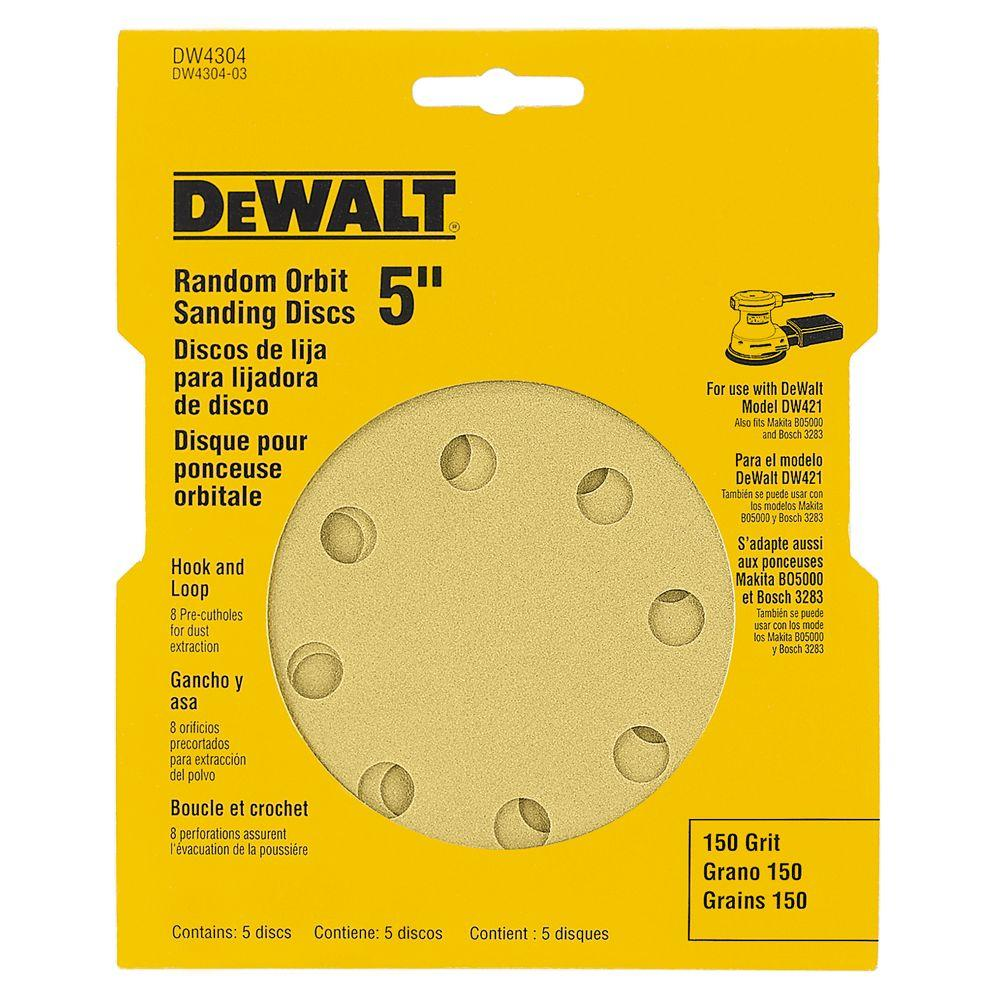 5 in. 8-Hole 150-Grit H and L Random Orbit Sandpaper (5-Pack)