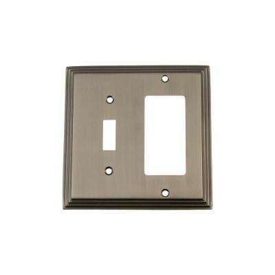 Deco Switch Plate with Toggle and Rocker in Antique Pewter