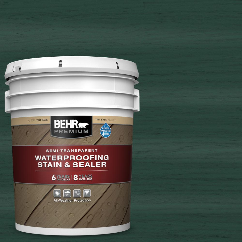 BEHR PREMIUM 5 gal. #ST-114 Mountain Spruce Semi-Transparent Waterproofing Exterior Wood Stain and Sealer