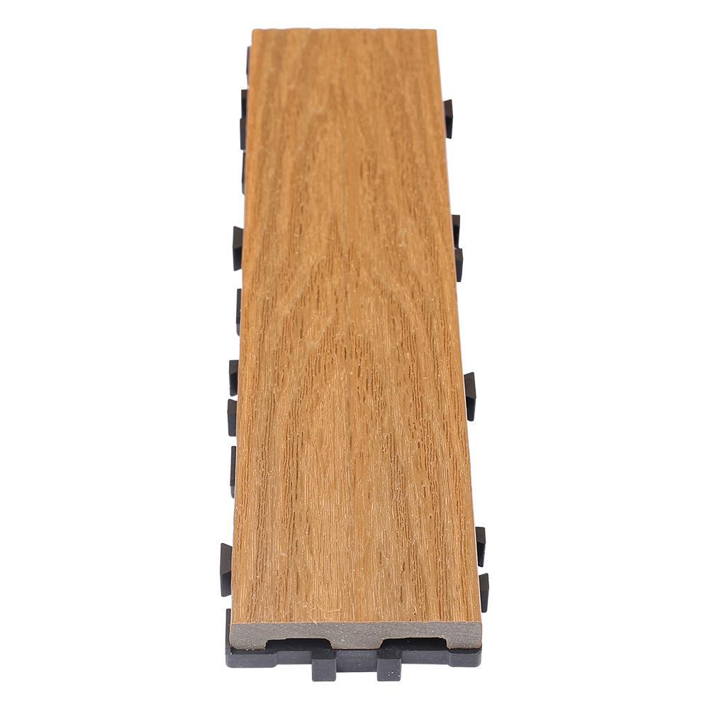 UltraShield Naturale 3 in. x 1 ft. Quick Composite Single Slat Deck Tile in Peruvian Teak (4-Pieces per Box)